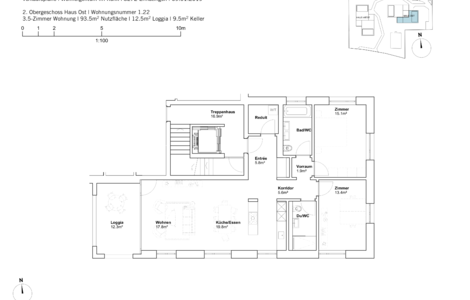 house east 3.5 room apartement 2nd Fl.