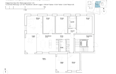 house east 5.5 room apartement ground Fl.
