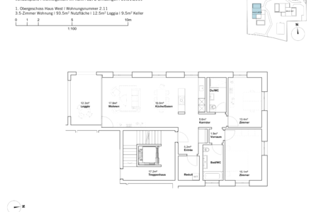 house west 3.5 room apartement first Fl.